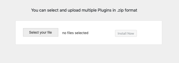 Multiple WordPress Plugins Upload Box