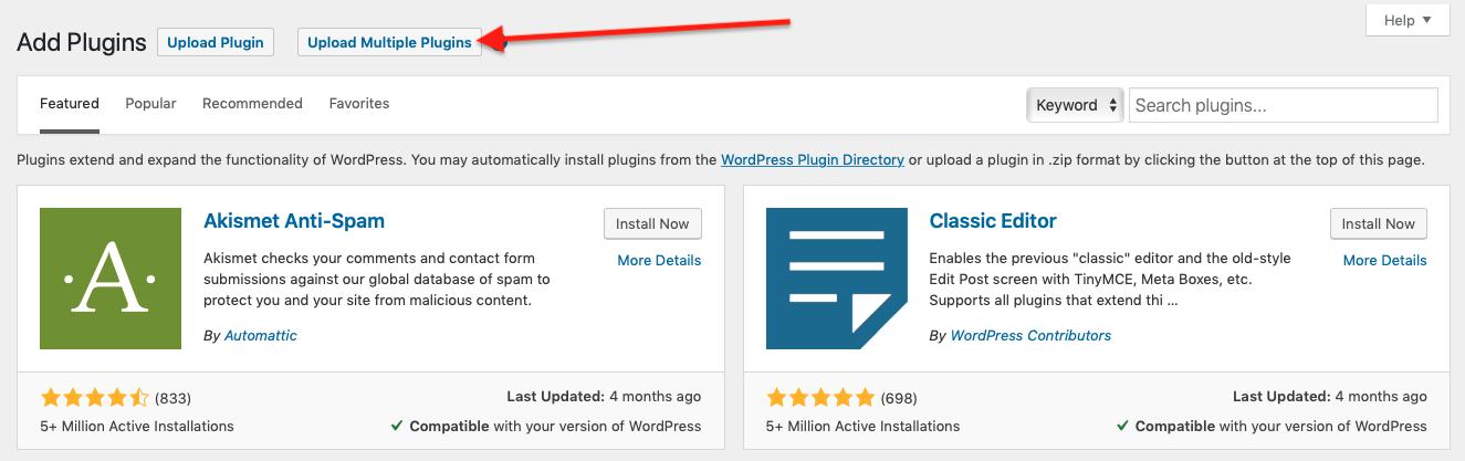 Multiple WordPress Plugins Upload Button