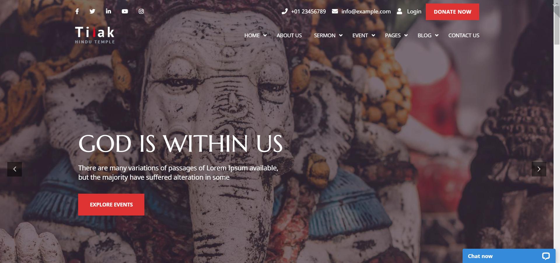 Tilak - WordPress religious theme