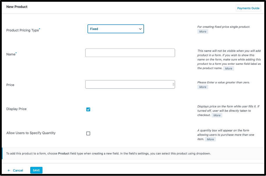 Add Product- WordPress payments form