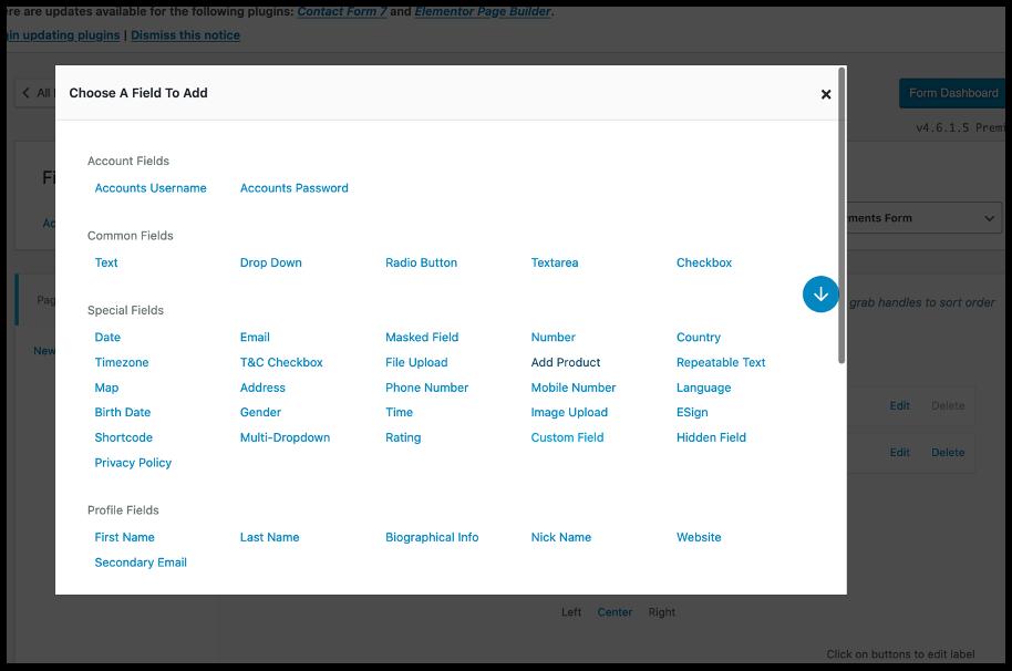 Add Field- WordPress payments form