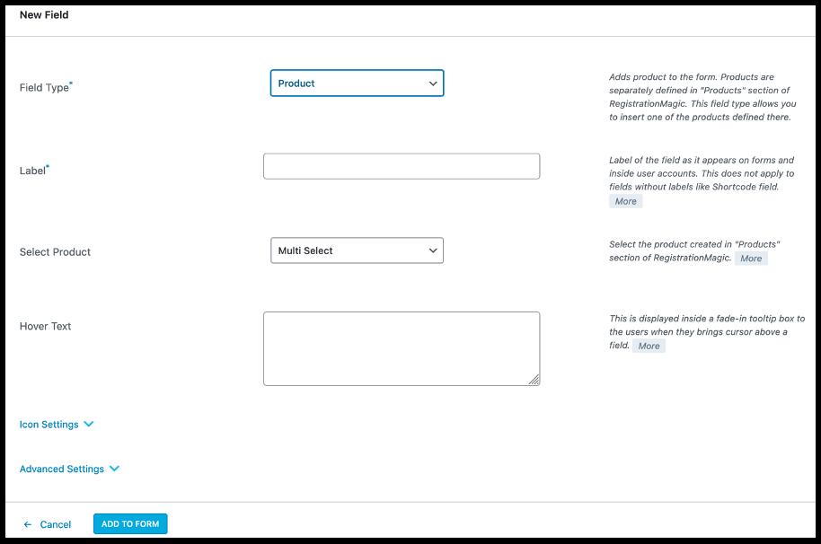 Add Fields- WordPress payments form