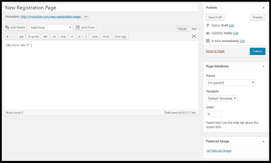 Registration Form WordPress- Registration form WordPress