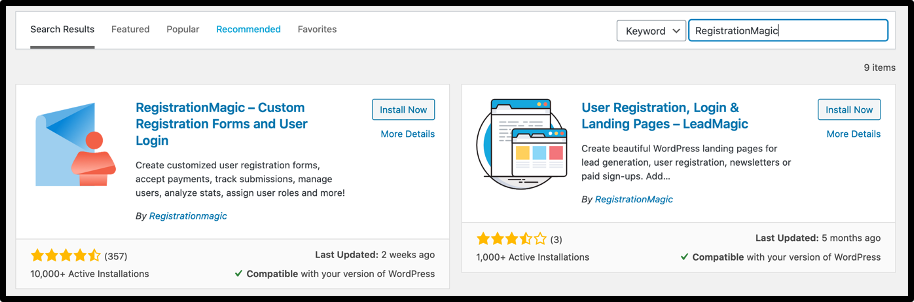 Install Registration Magic - WordPress Membership form