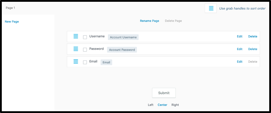 Form Fields- Registration form WordPress