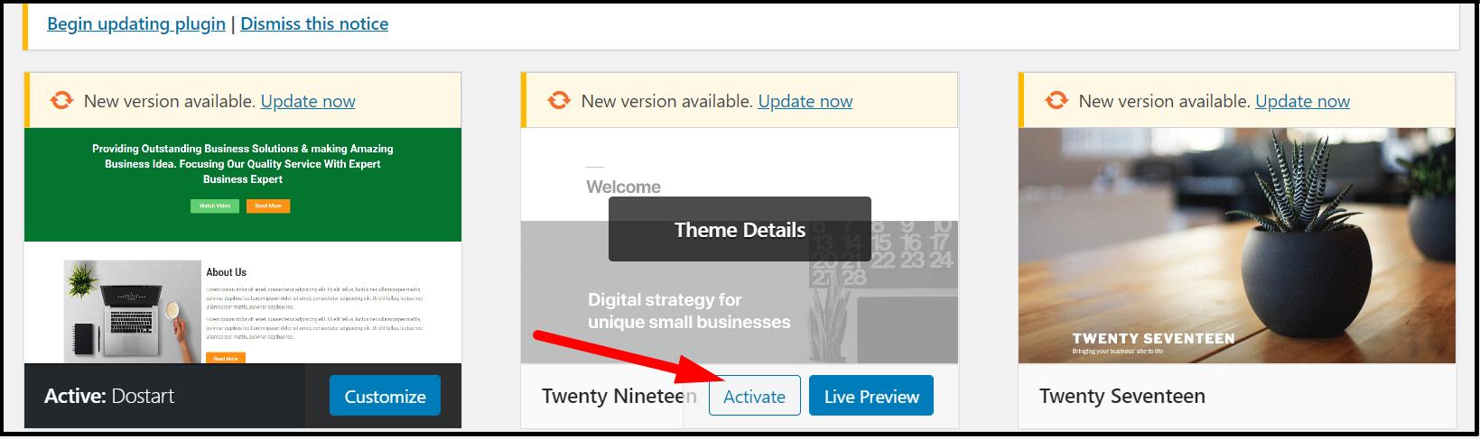 Activate Theme-WooCommerce website